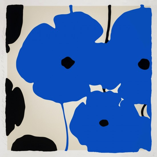 Donald Sultan - Blue and Black Poppies, Feb 3, 2020