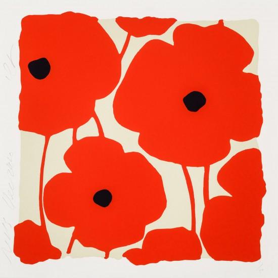 Donald Sultan - Three Poppies, Reds, Dec 2, 2020