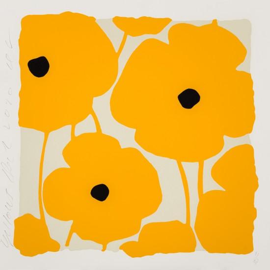 Donald Sultan - Three Poppies, Yellows, Dec 2, 2020