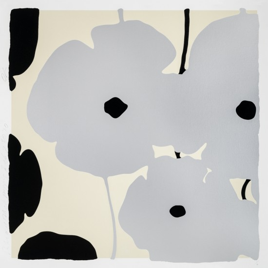 Donald Sultan - Silver and Black Poppies, Feb 3, 2020