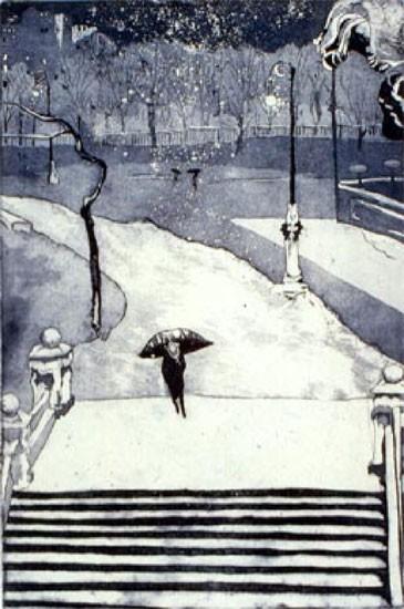Ellen Nathan Singer - Prints - The Park In Snow