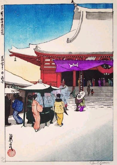 "Paul Binnie - Fukei-ga - Prints - ""Snow at Asakusa"" Asakusa no yuki"