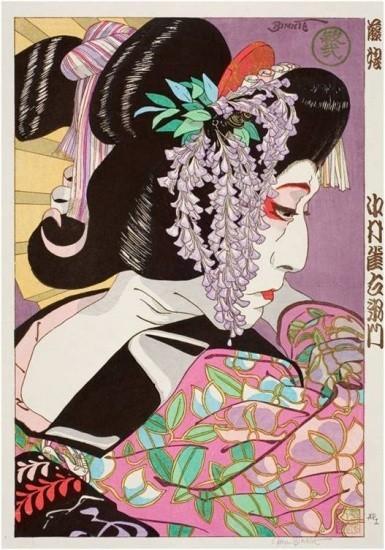 """Paul Binnie - Prints - Kabuki - """"Nakamura Jakuemon in Fuji Musume"""" Jakuemon Fuji Musume"""