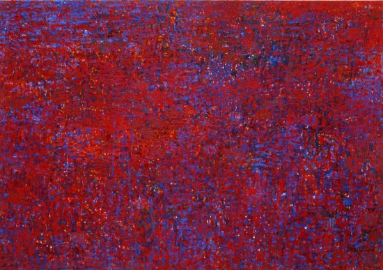 Keiko Hara Paintings - Space M - Red and Blue