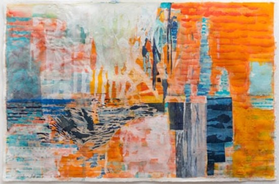 Keiko Hara - Works on paper - Verse-Ma - Orange and Blue