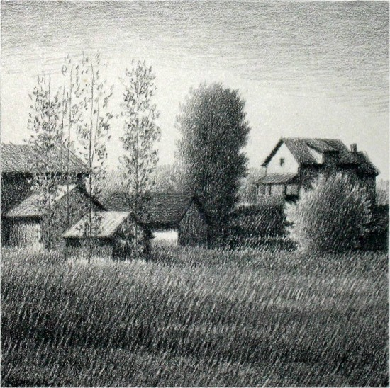 Robert Kipniss - Drawings - Farms and Barns
