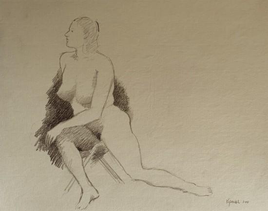 Robert Kipniss - Drawings - untitled figure drawing 4