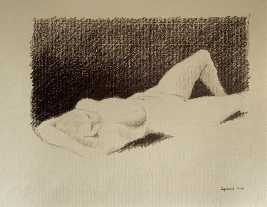 Robert Kipniss - Drawings - untitled figure drawing 5