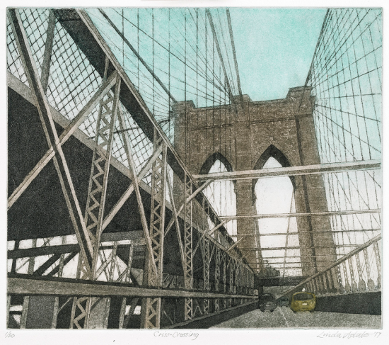 Linda Adato - Color etchings: urban landscapes and other imagery - Criss-Crossing