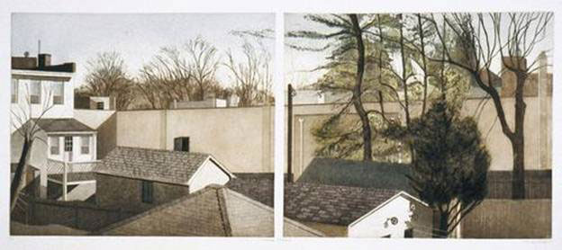 Linda Adato - Color etchings: urban landscapes and other imagery - Between Seasons