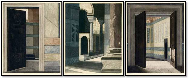 "Linda Adato - Color etchings: urban landscapes and other imagery - ""Waiting Room, The"", ""Chambers of Negotiation & Compromise"", ""Chamber of Good Intentions, The"""