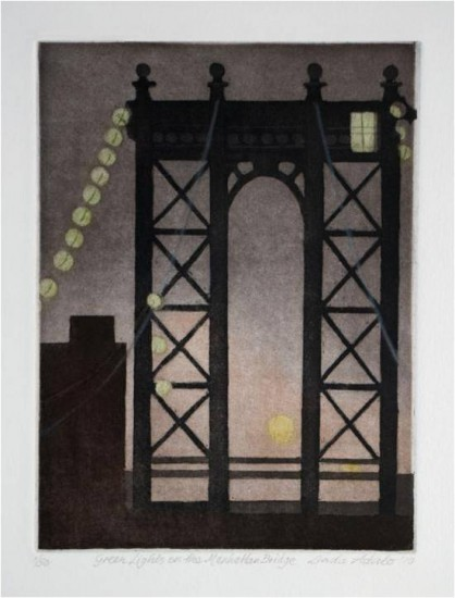 Linda Adato - Color etchings: urban landscapes and other imagery - Green Lights on the Manhattan Bridge