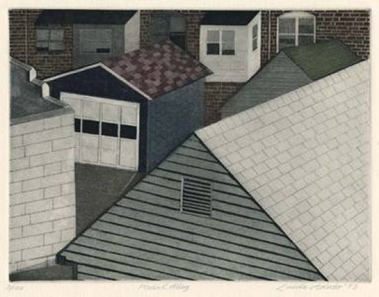 Linda Adato - Color etchings: urban landscapes and other imagery - Peaks and Alley