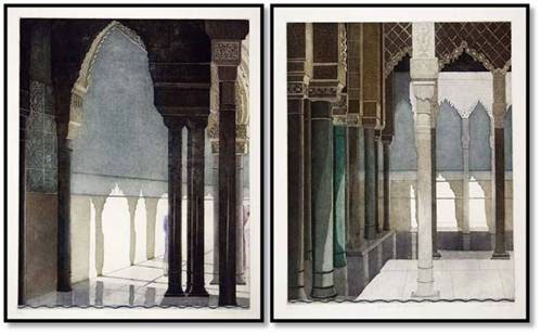 """Linda Adato - Color etchings: urban landscapes and other imagery - """"Marking Time"""", """"Court of Appeals & Pillars"""""""