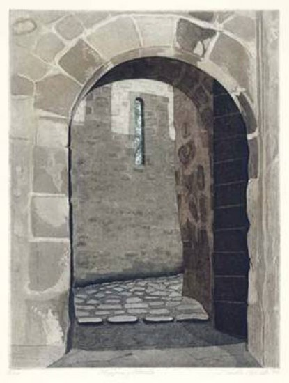 Linda Adato - Color etchings: urban landscapes and other imagery - Stepping Stones