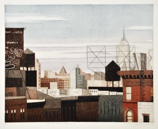 Linda Adato - Color etchings: urban landscapes and other imagery - View From the Manhattan Bridge