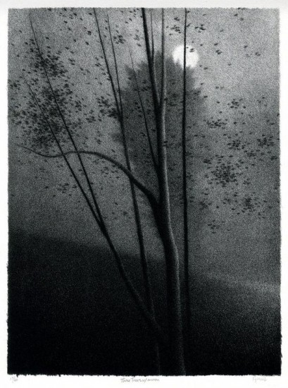 Robert Kipniss - Lithographs - Three trees w moon