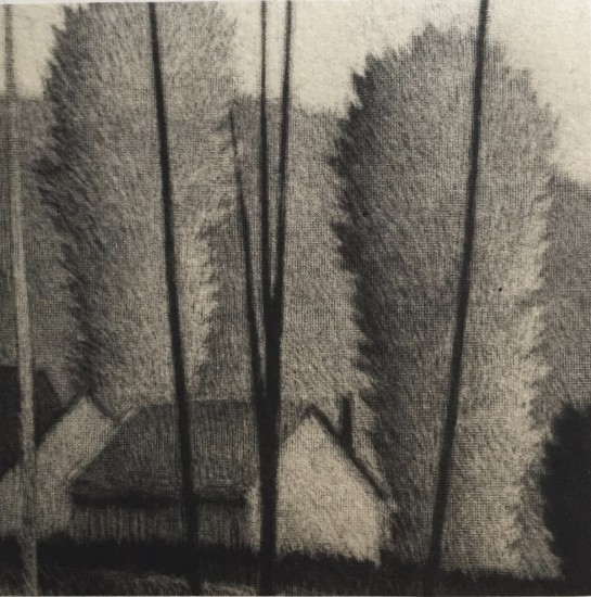 Robert Kipniss - Mezzotints - Four trees and chimney