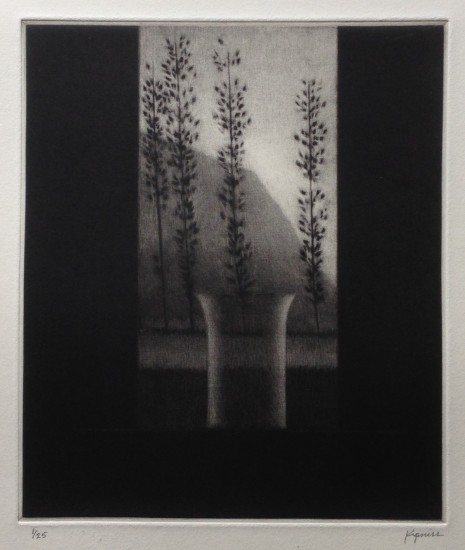 Robert Kipniss - Mezzotints - Window w/vase & four trees