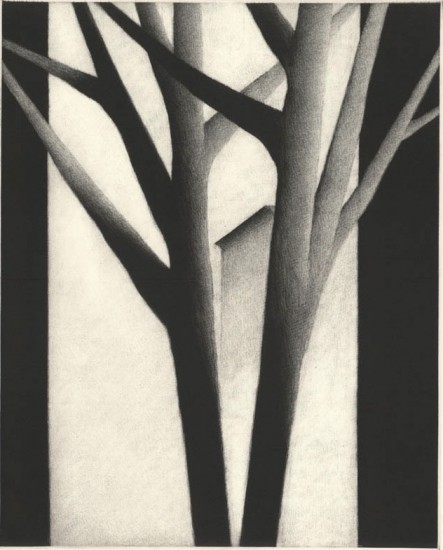 Robert Kipniss - Mezzotints - Two trees with portal & house