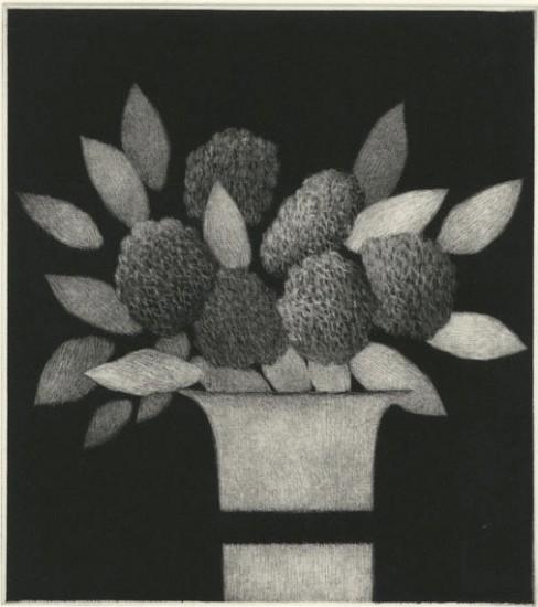 Robert Kipniss - Mezzotints - Vase w/ leaves and flowers