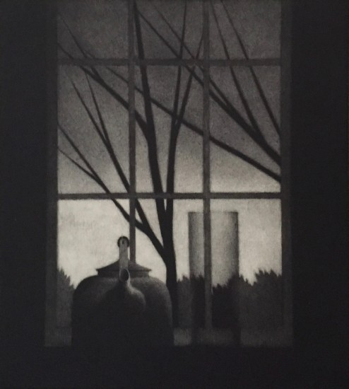 Robert Kipniss - Mezzotints - Window w/vase & trees