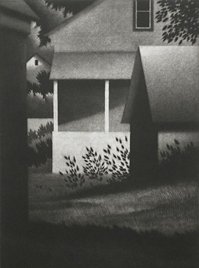 Robert Kipniss - Mezzotints - Evening w/white porch