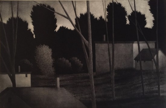 Robert Kipniss - Mezzotints - Backyards at dusk