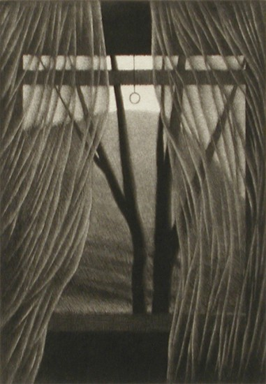 Robert Kipniss - Mezzotints - Interior w/mountain