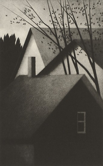 Robert Kipniss - Mezzotints - Rooftops and chimney