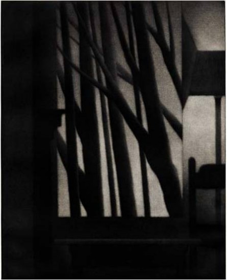 Robert Kipniss - Mezzotints - Still life w/chair and standing lamp