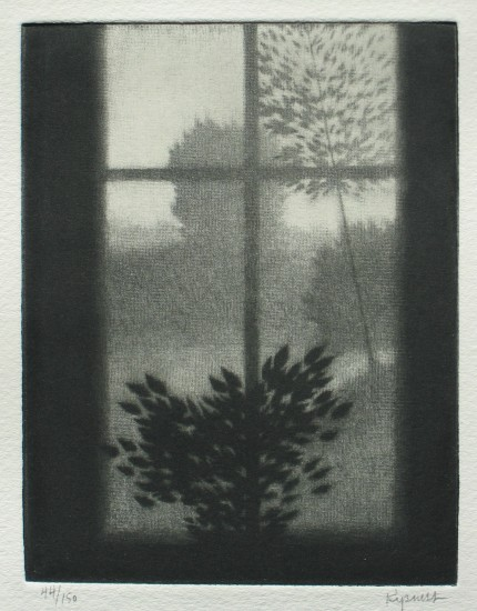 Robert Kipniss - Mezzotints - Window w/dark leaves