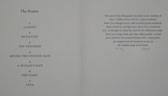 Publications - The Poems from A Suite of Ten Lithographs drawn by Robert Kipniss for the Selected Poems of Rainer Maria Rilke