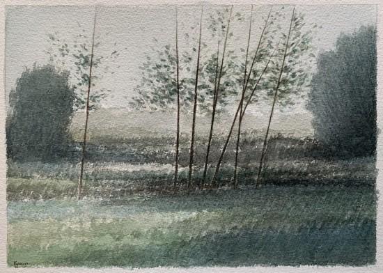R Kipniss Paintings - Landscape w/Seven Trees