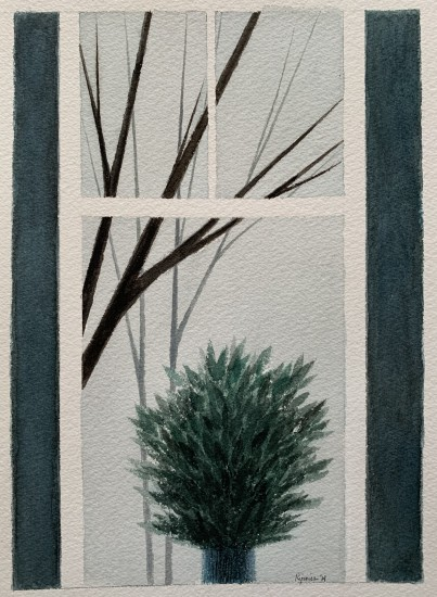 R Kipniss Paintings - Window w/Trees and Plant