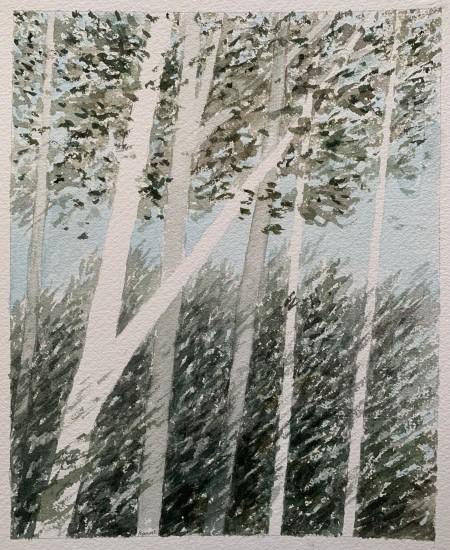 R Kipniss Paintings - Landscape/w Pale Trees