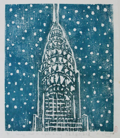 Recent Additions - February, Snow on Chrysler Building
