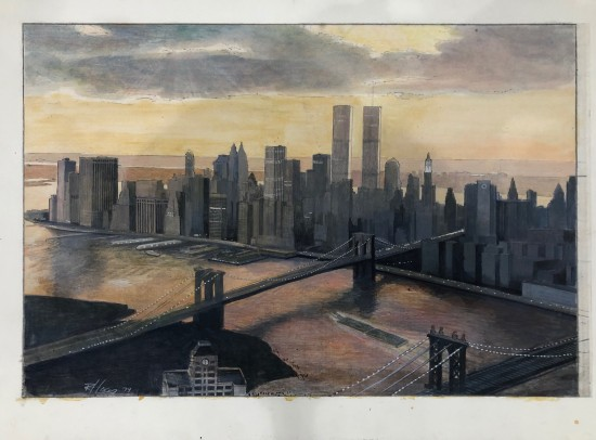 Richard Haas - Manhattan View, Twilight Preparatory Painting