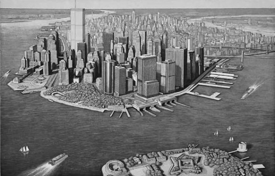 Richard Haas - Manhattan View Governor's Island - B + W