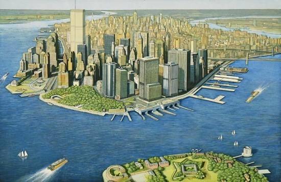 Richard Haas - Manhattan View Governor's Island