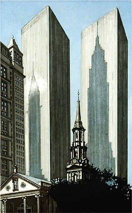 Richard Haas - Shadows of the Empire State and Chrysler Building on World Trade Towers