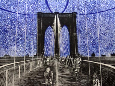 Richard Sloat - Prints - Starry Night Brooklyn Bridge