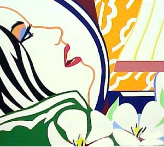 Tom Wesselmann - Bedroom Face with Orange Wallpaper, 1988