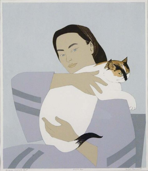 Will Barnet - Prints - Woman and White Cat