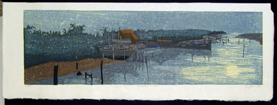 Joshua Rome Prints - Woodblock Prints - Moonlight on the Water