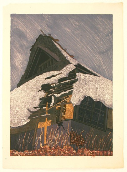 Joshua Rome Prints - Woodblock Prints - Fuyu no Arashi (Winter Wind Storm)